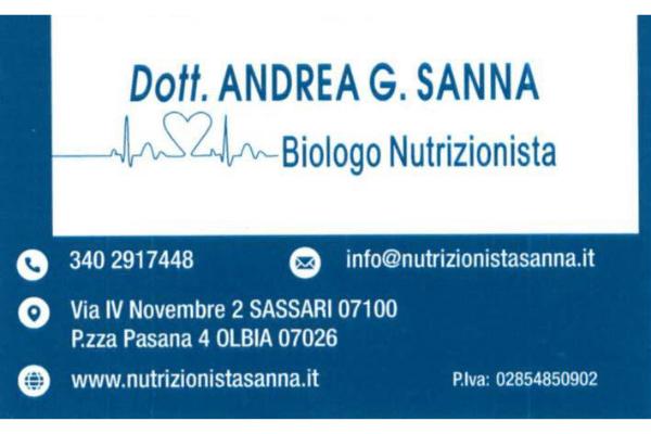 Dott. ANDREA SANNA – Biologo Nutrizionista – Sconto 15%